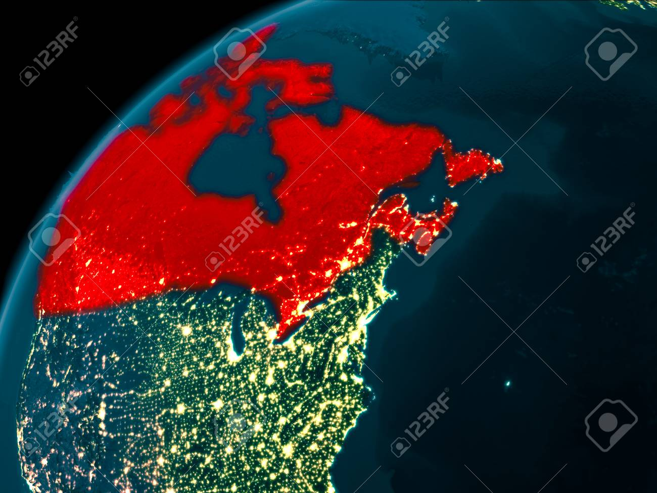 Night Map Of Canada As Seen From Space On PlaEarth. 3D