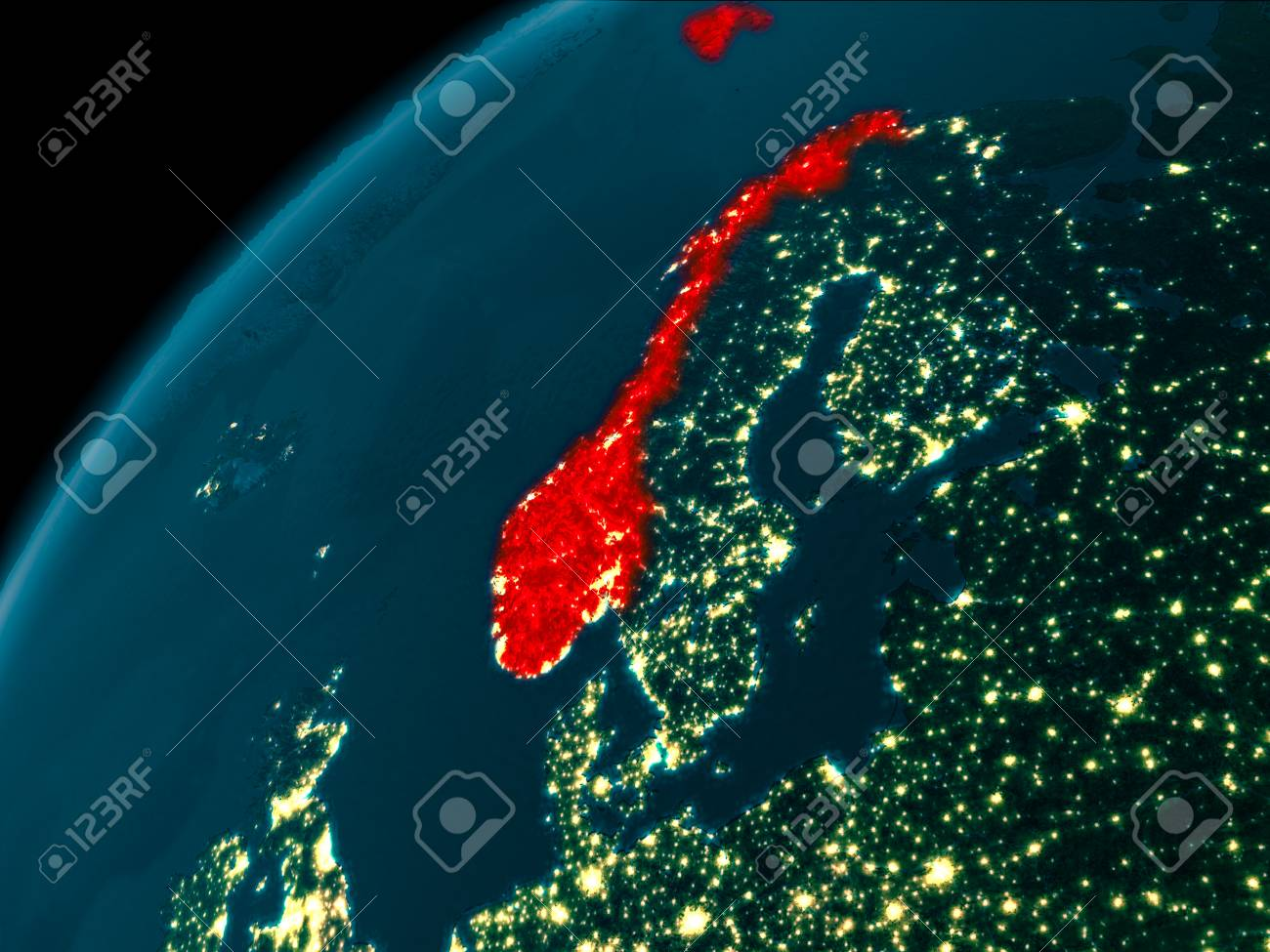 Night map of norway as seen from space on planet earth 3d illustration night map of norway as seen from space on planet earth 3d illustration gumiabroncs Image collections