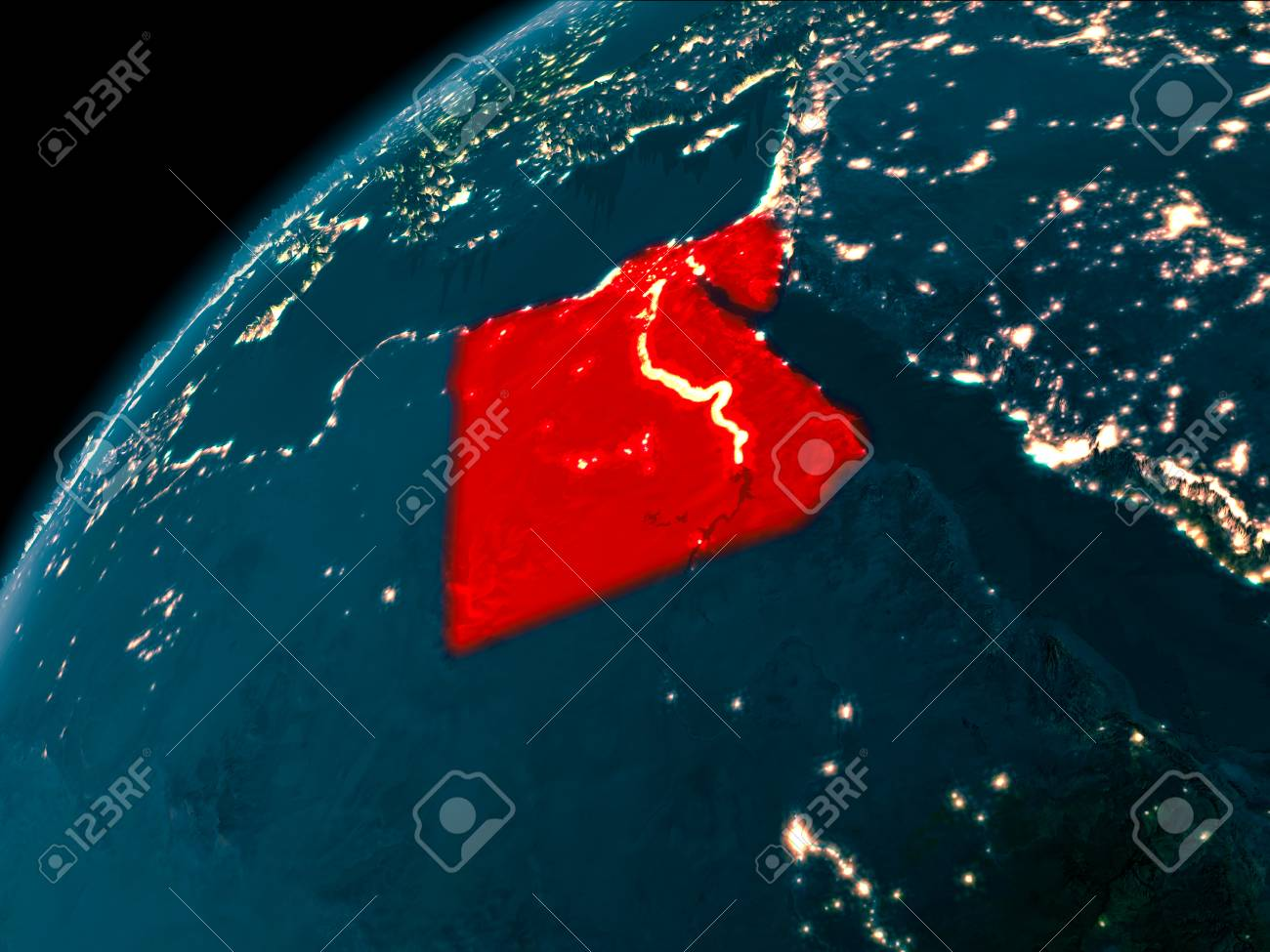 Night map of egypt as seen from space on planet earth 3d illustration night map of egypt as seen from space on planet earth 3d illustration gumiabroncs Image collections