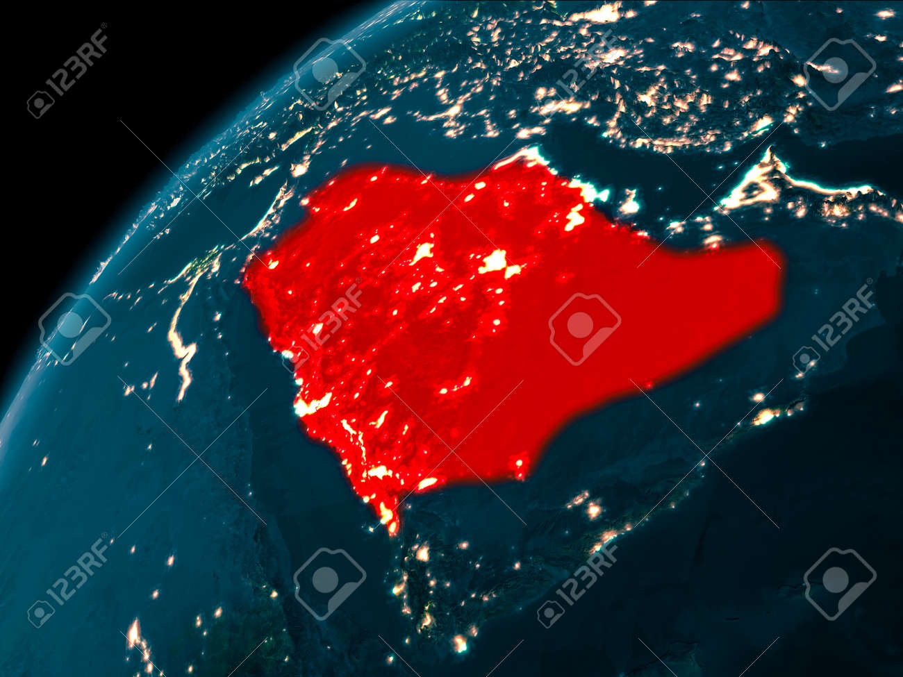Night map of saudi arabia as seen from space on planet earth illustration night map of saudi arabia as seen from space on planet earth 3d illustration gumiabroncs Image collections