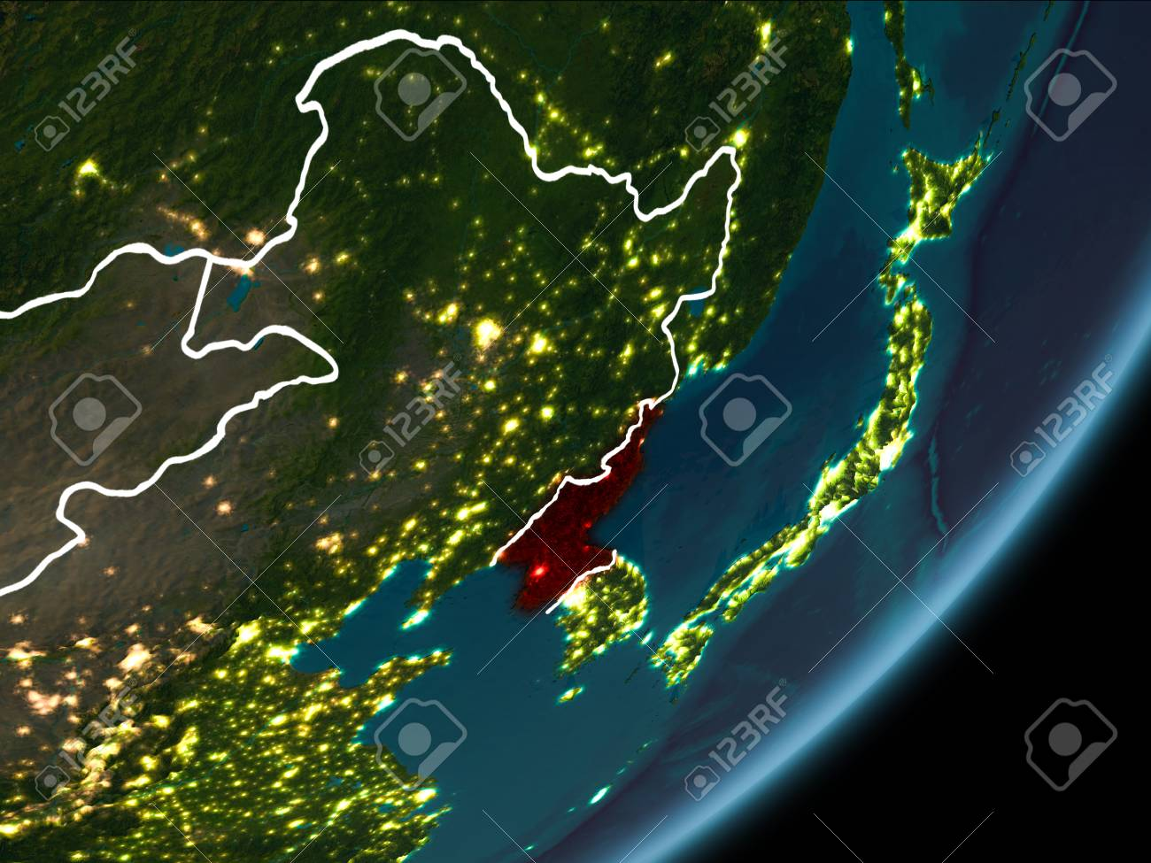 North korea as seen from earths orbit on planet earth at night foto de archivo north korea as seen from earths orbit on planet earth at night highlighted in red with visible borders and city lights gumiabroncs Choice Image
