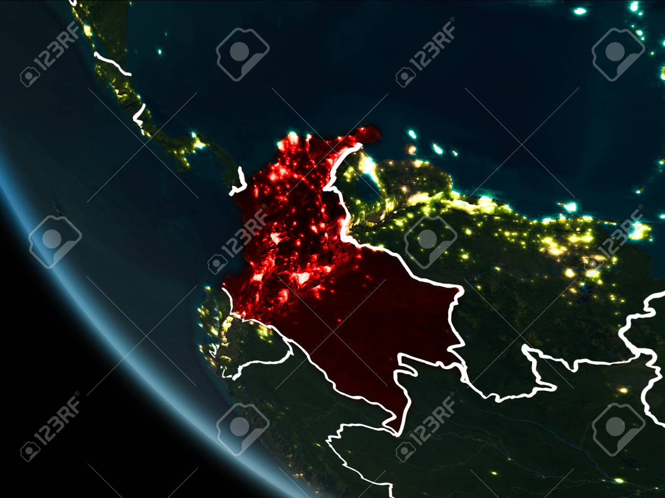 Satellite view of colombia highlighted in red on planet earth illustration satellite view of colombia highlighted in red on planet earth at night with borderlines and city lights 3d illustration gumiabroncs Gallery