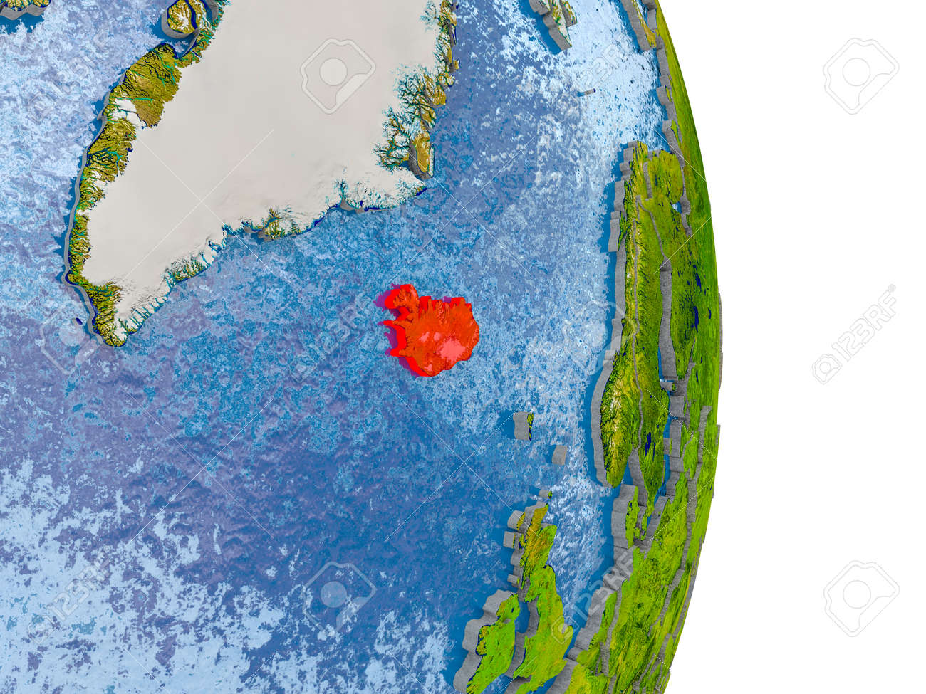 Iceland in red on model of globe with embossed countries and stock iceland in red on model of globe with embossed countries and realistic water 3d illustration gumiabroncs Gallery
