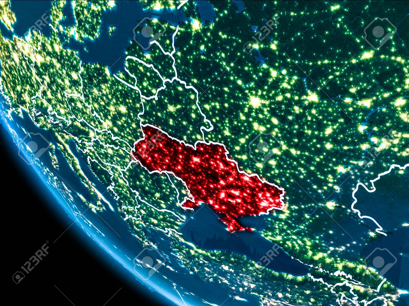 Map of ukraine in red as seen from space on planet earth at night foto de archivo map of ukraine in red as seen from space on planet earth at night with white borderlines and city lights 3d illustration gumiabroncs Gallery