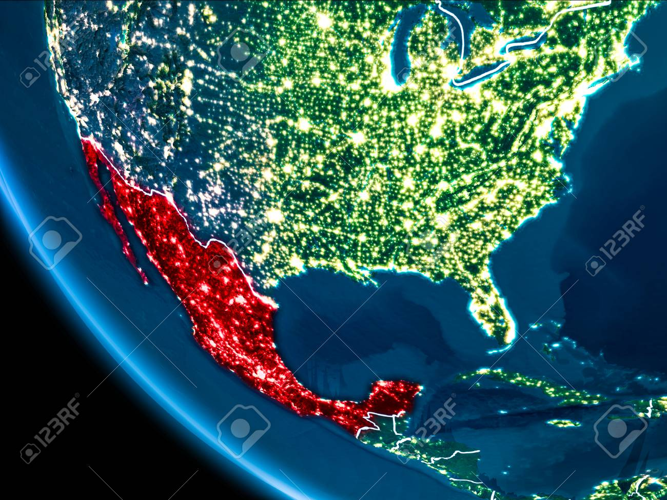 Map of mexico in red as seen from space on planet earth at night illustration map of mexico in red as seen from space on planet earth at night with white borderlines and city lights 3d illustration gumiabroncs Image collections