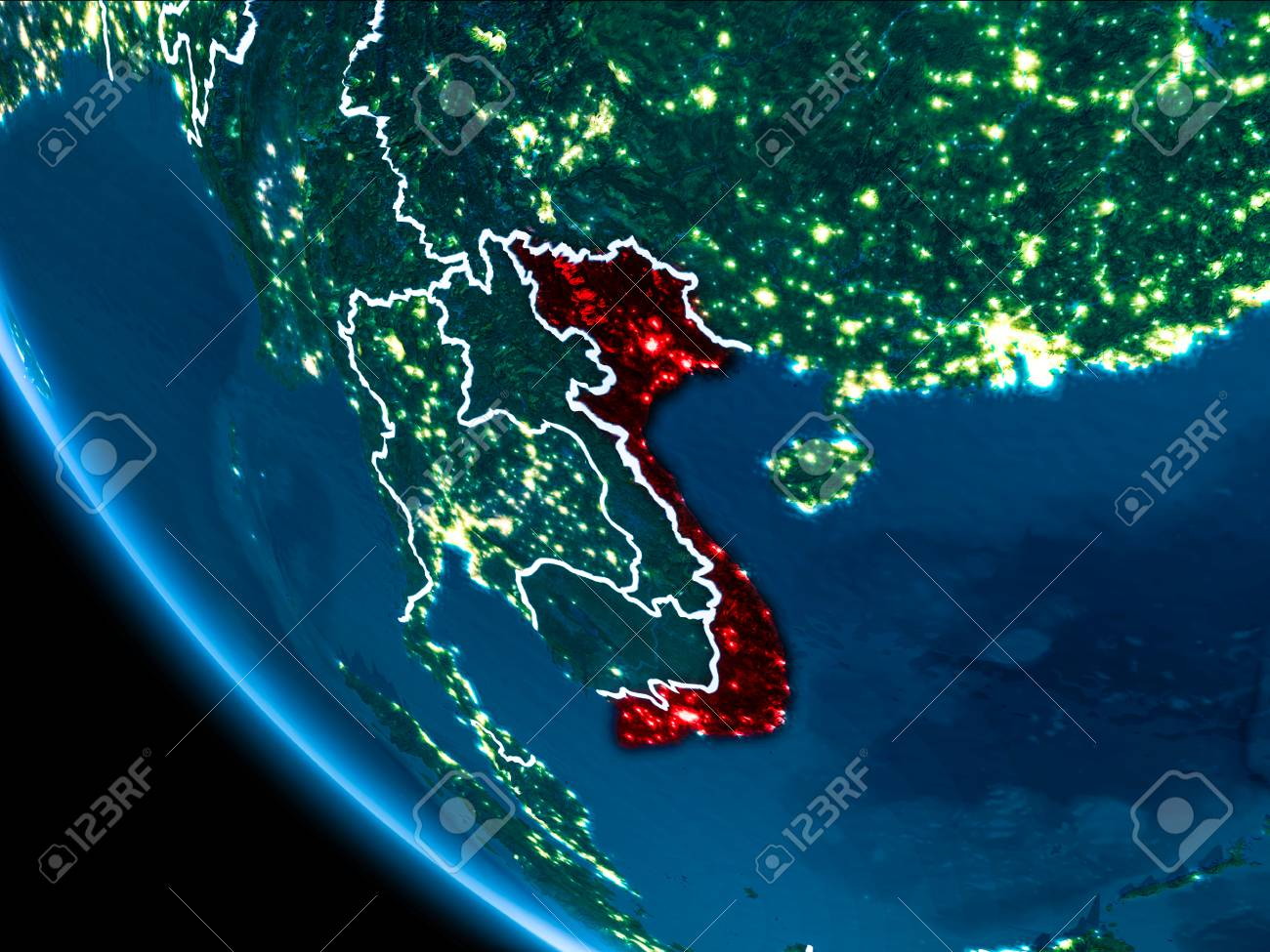 Map of vietnam in red as seen from space on planet earth at night illustration map of vietnam in red as seen from space on planet earth at night with white borderlines and city lights 3d illustration gumiabroncs Gallery