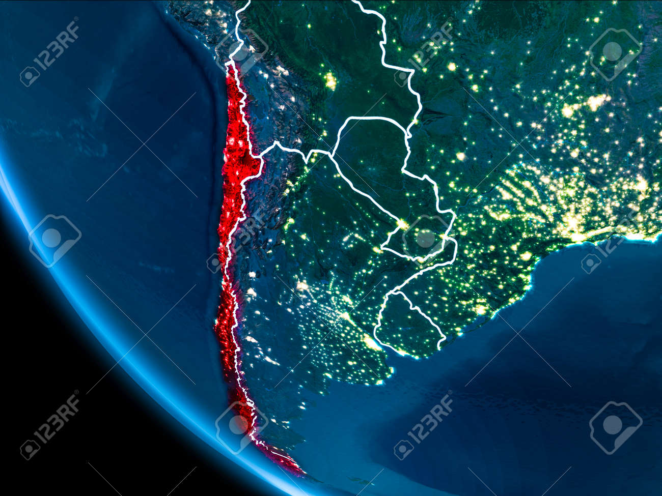 Map of chile in red as seen from space on planet earth at night illustration map of chile in red as seen from space on planet earth at night with white borderlines and city lights 3d illustration gumiabroncs Images
