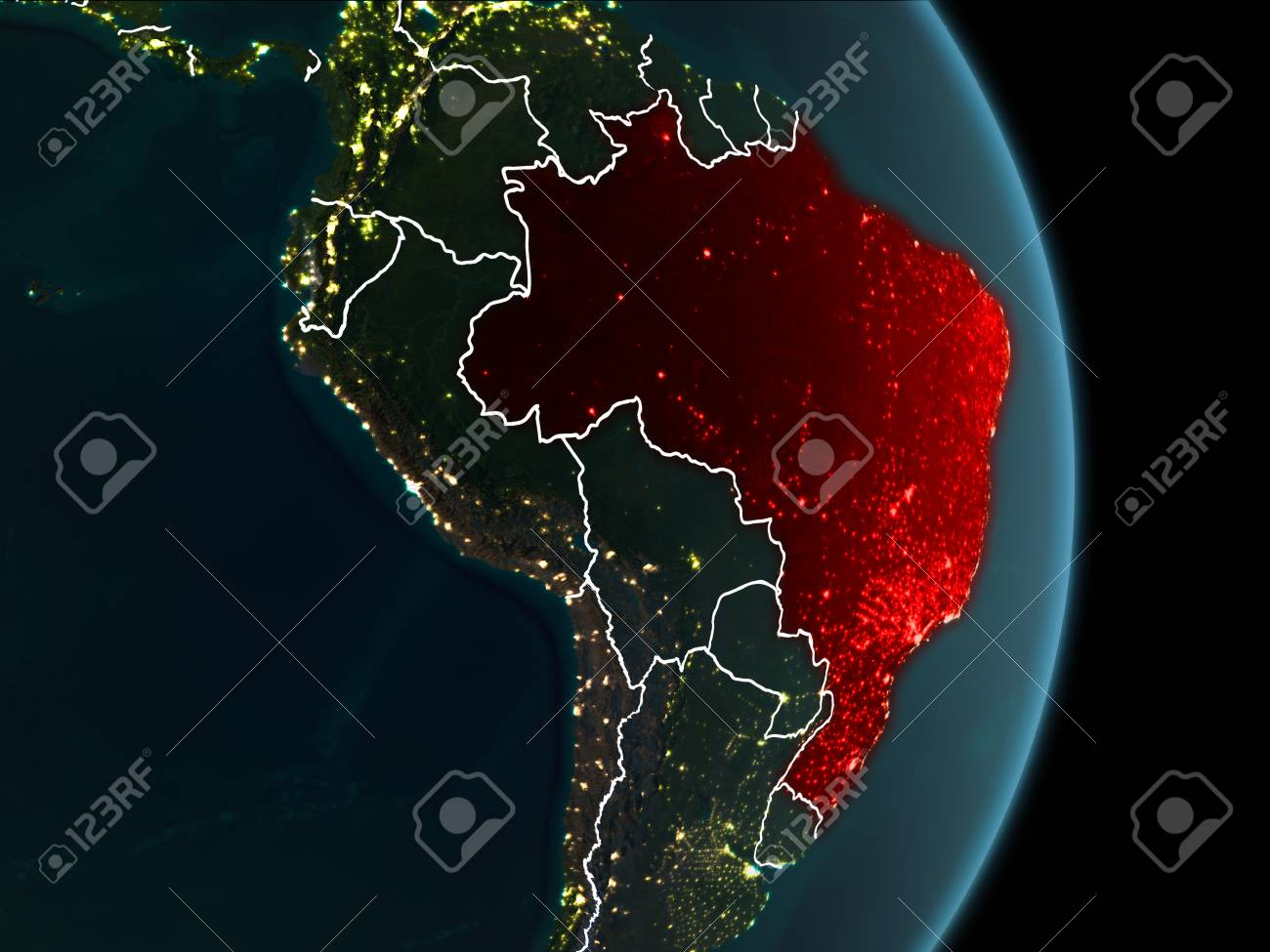 Map of brazil in red as seen from space on planet earth at night illustration map of brazil in red as seen from space on planet earth at night with white borderlines and city lights 3d illustration gumiabroncs Image collections