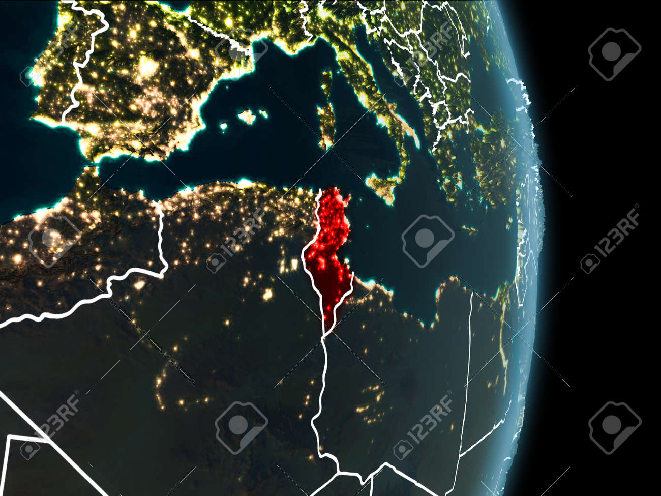 Map of tunisia in red as seen from space on planet earth at night illustration map of tunisia in red as seen from space on planet earth at night with white borderlines and city lights 3d illustration gumiabroncs Images