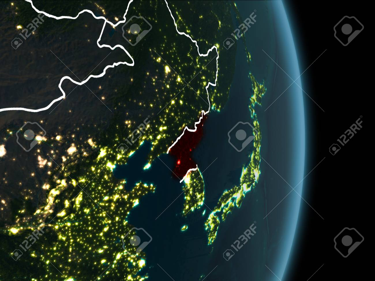 Map Of North Korea In Red As Seen From Space On Planet Earth Stock