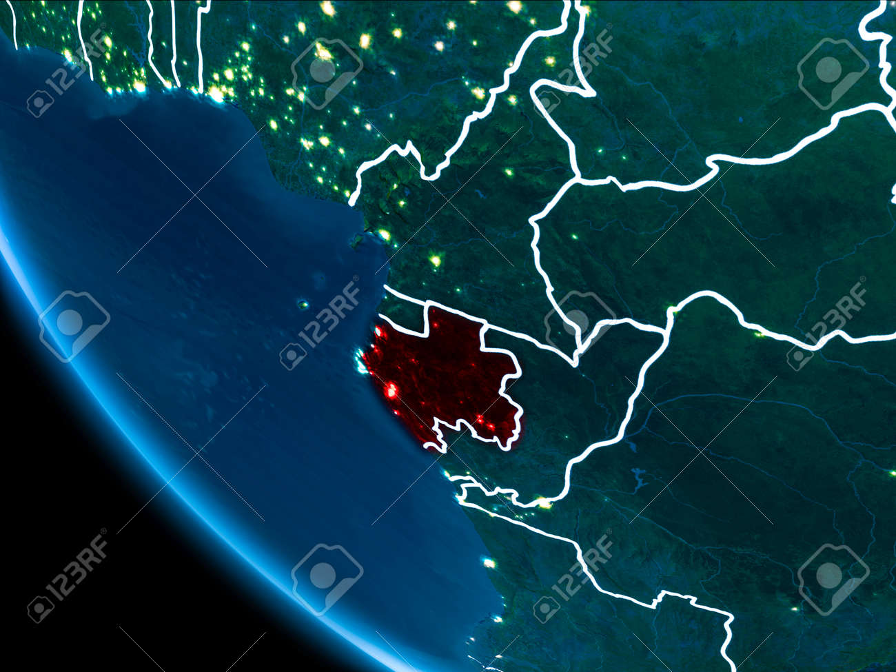 Map of gabon in red as seen from space on planet earth at night illustration map of gabon in red as seen from space on planet earth at night with white borderlines and city lights 3d illustration gumiabroncs Image collections