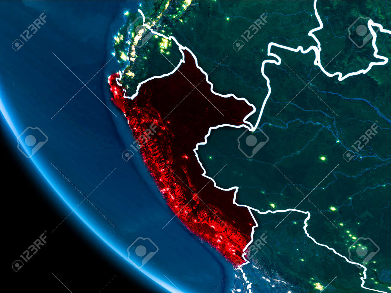 Map of peru in red as seen from space on planet earth at night illustration map of peru in red as seen from space on planet earth at night with white borderlines and city lights 3d illustration gumiabroncs Gallery