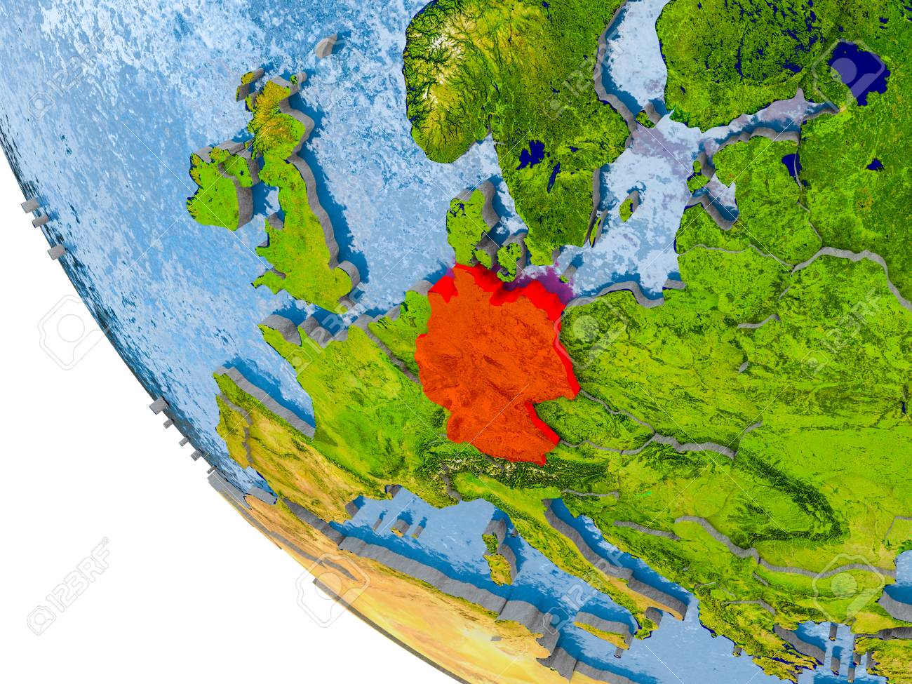 Map Of Germany And Surrounding Countries.Map Of Germany In Red On Globe With Real Planet Surface Embossed