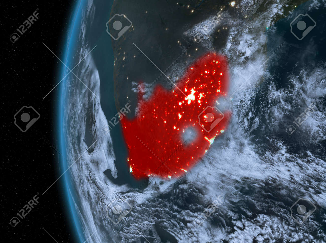 Map Of Africa From Space.Stock Illustration