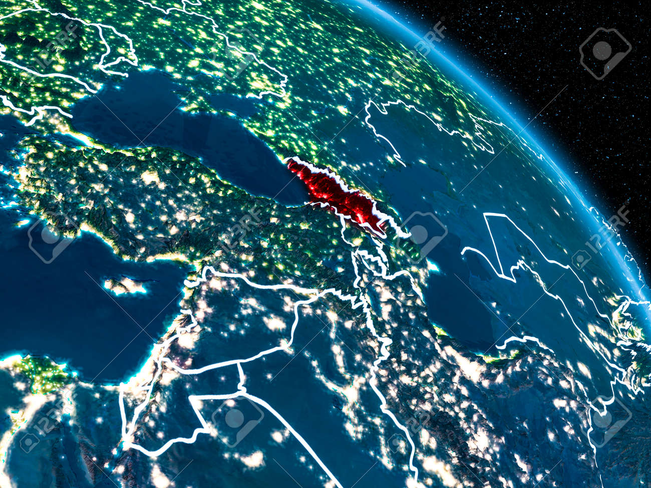 Satellite Map Of Georgia.Satellite View Of Georgia Highlighted In Red On Planet Earth Stock