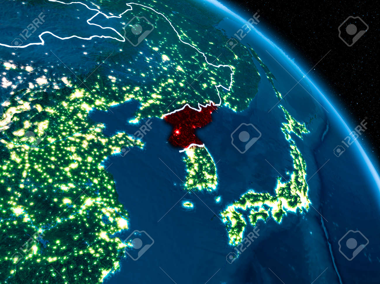 Stock Illustration on seoul korea at night, map of south north korean peninsula night, map of us at night, earth from satellite at night, texas satellite at night, map of south korea night, aerial view of north korea at night,