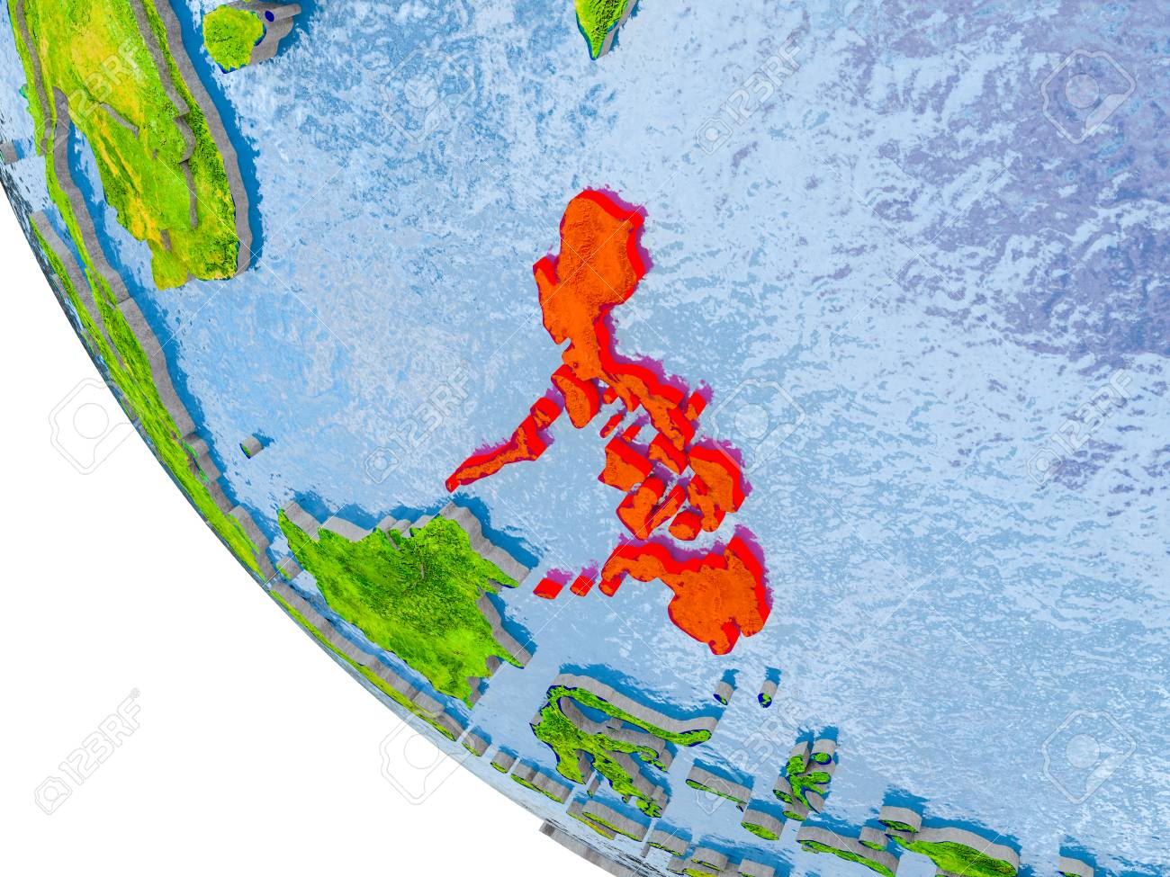 Map of philippines in red on globe with real planet surface stock illustration map of philippines in red on globe with real planet surface embossed countries with visible country borders and water in the oceans gumiabroncs Gallery