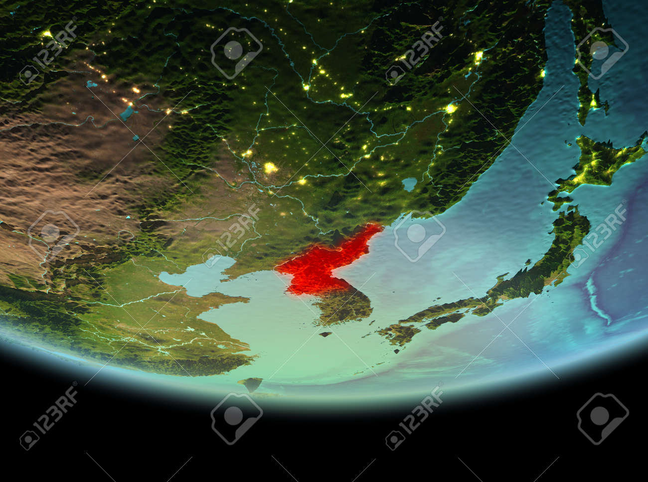 North korea from orbit of planet earth at night with highly detailed illustration north korea from orbit of planet earth at night with highly detailed surface textures 3d illustration gumiabroncs Image collections