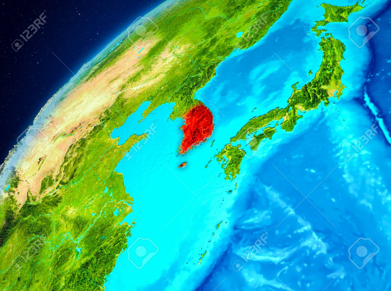 Orbit view of south korea highlighted in red on planet earth illustration orbit view of south korea highlighted in red on planet earth 3d illustration gumiabroncs Choice Image