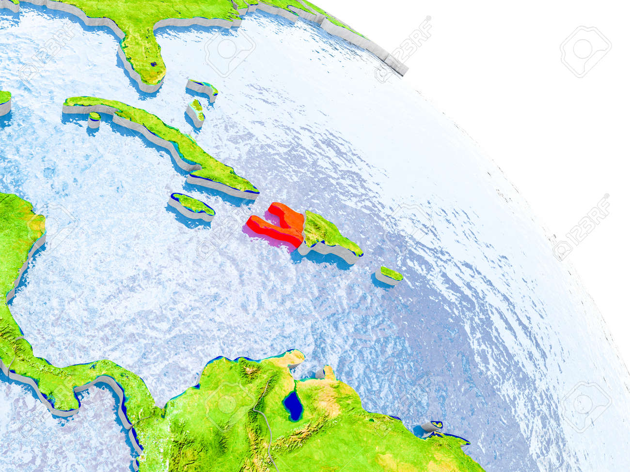 Illustration of haiti highlighted in red on glob with realistic illustration illustration of haiti highlighted in red on glob with realistic surface with visible country borders and water in the oceans gumiabroncs Images