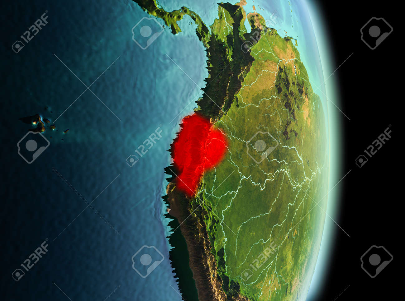 Early morning view of ecuador highlighted in red on planet earth early morning view of ecuador highlighted in red on planet earth 3d illustration stock gumiabroncs Image collections