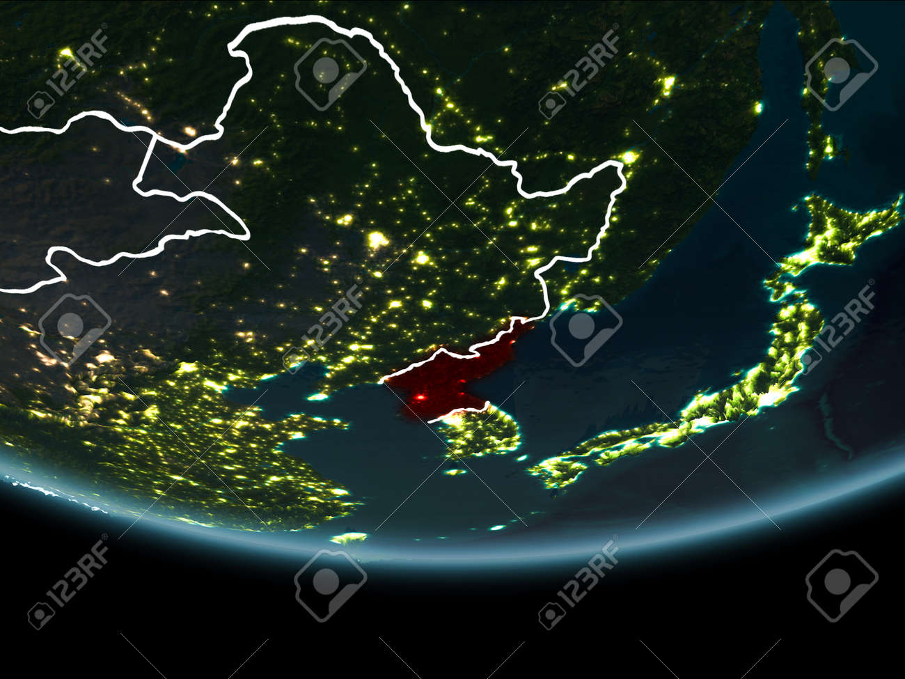 North Korea Highlighted In Red On Planet Earth At Night With Stock