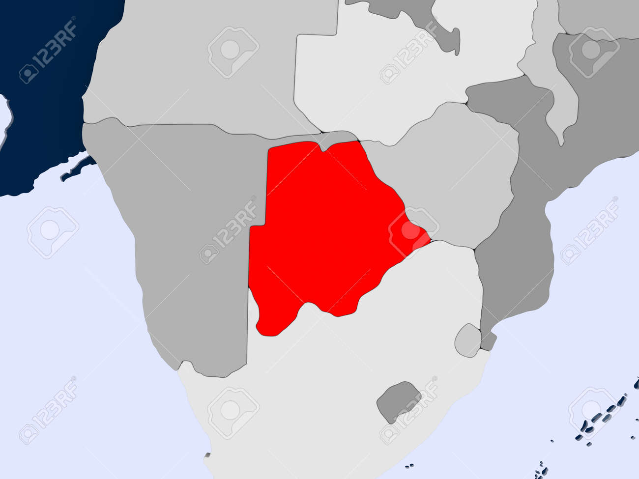 Botswana Political Map.Botswana In Red On Political Map With Transparent Oceans 3d Stock