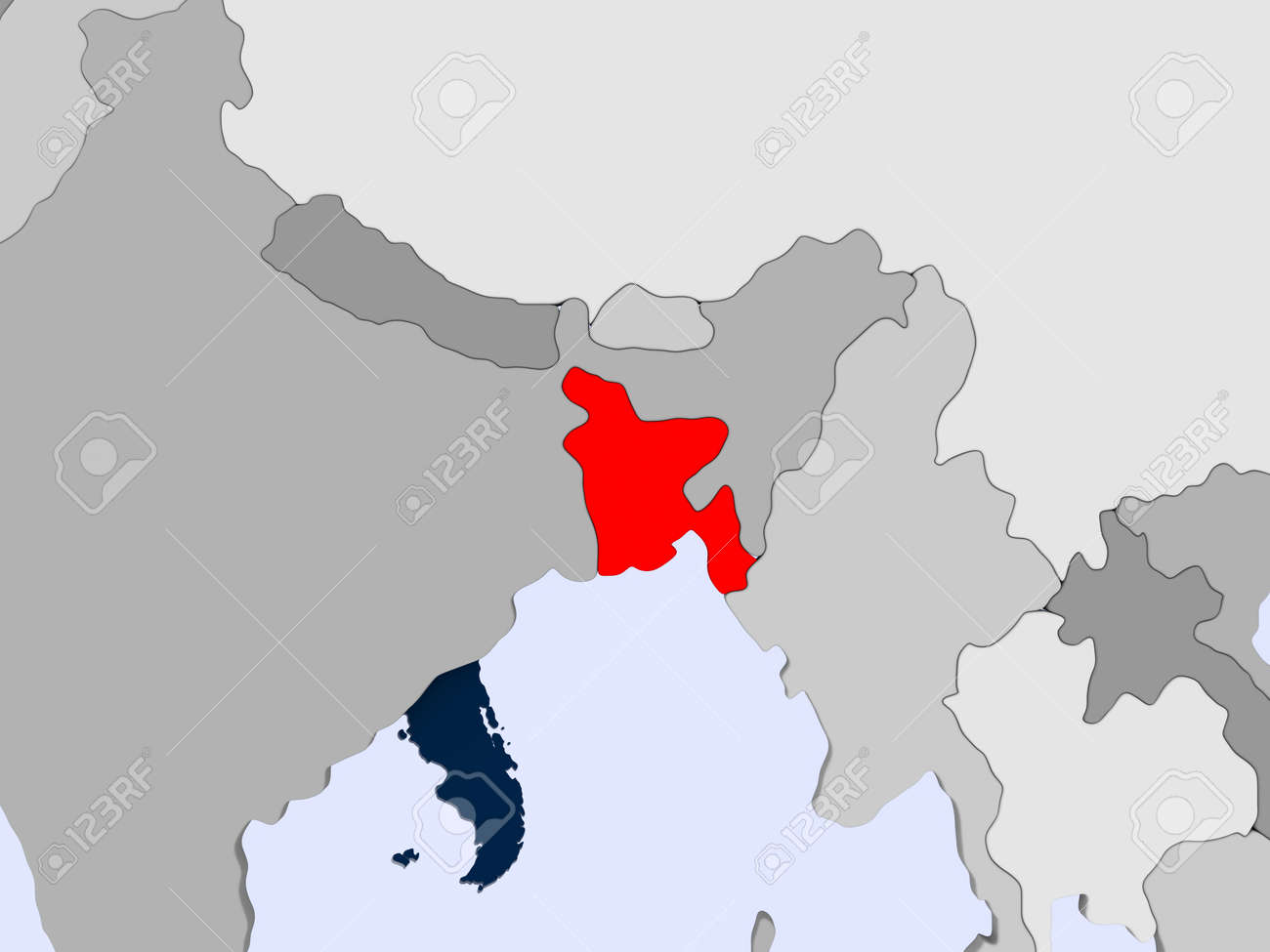 Bangladesh In Red On Political Map With Transparent Oceans 3d