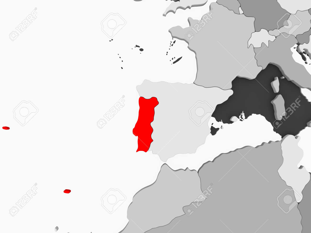 Portugal In Red On Grey Political Map With Transparent Oceans