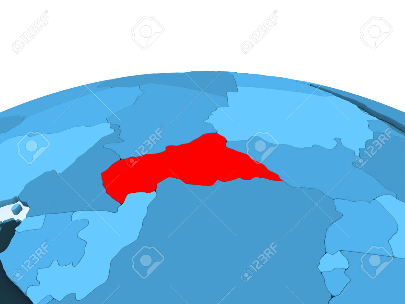 Map Of Central Africa In Red On Blue Political Globe With ...