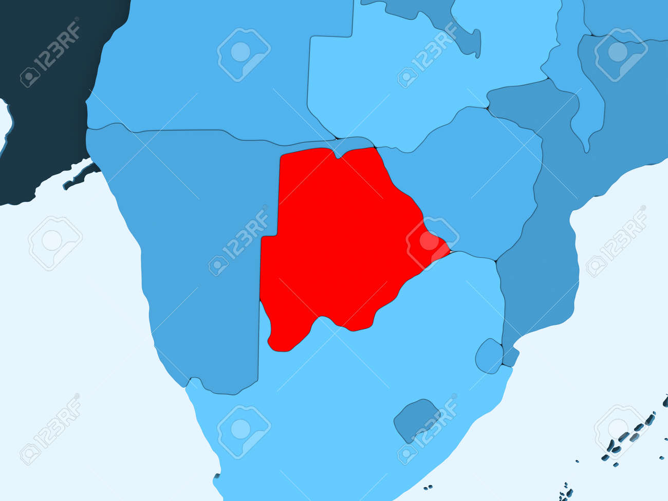 Botswana Political Map.Botswana In Red On Blue Political Map With Transparent Oceans