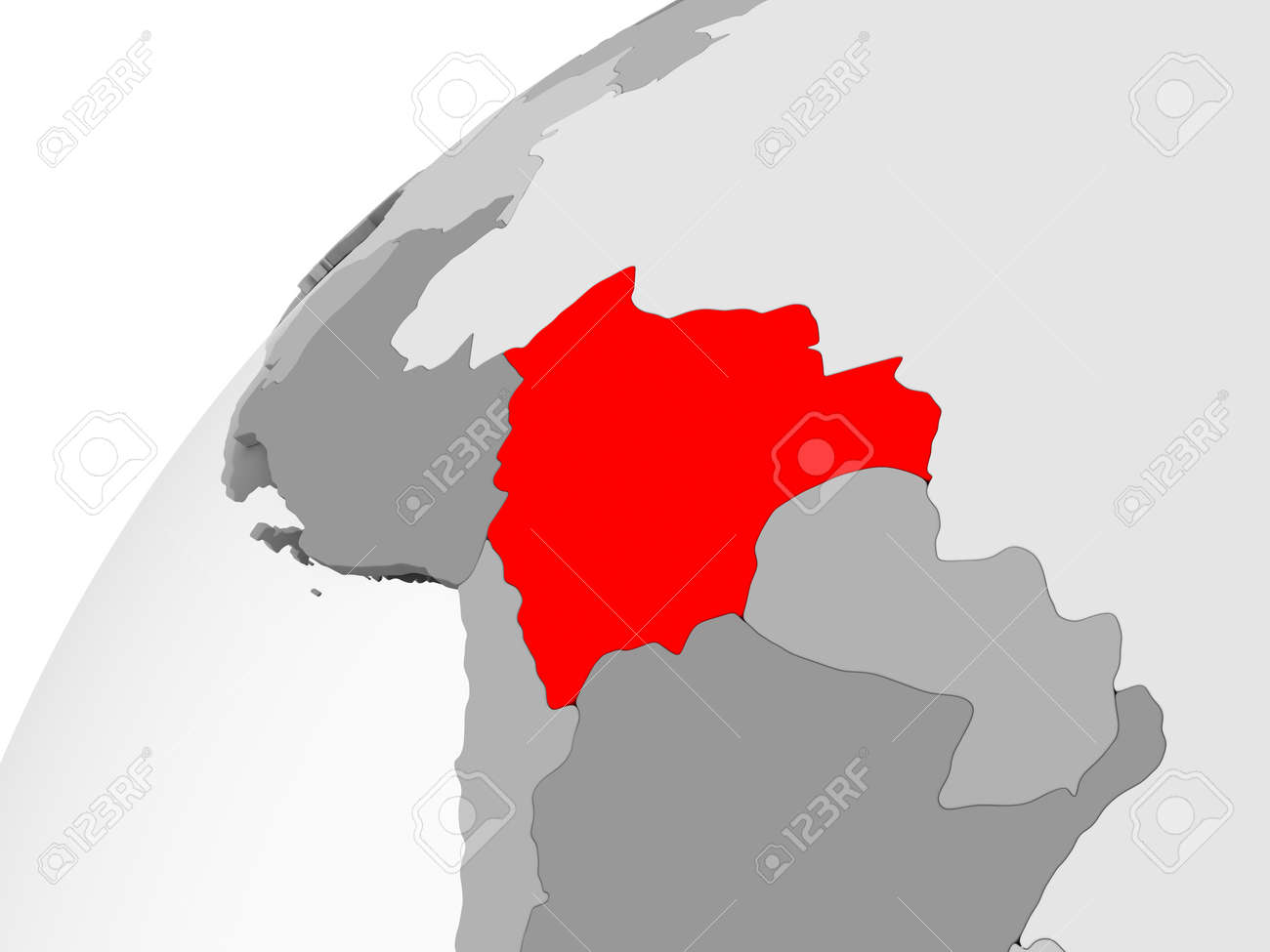 Map Of Bolivia In Red On Grey Political Globe With Transparent