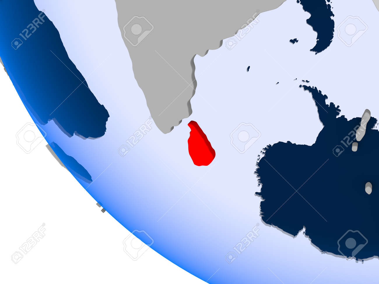 Map Of Sri Lanka In Red On Political Globe With Transparent Oceans ...