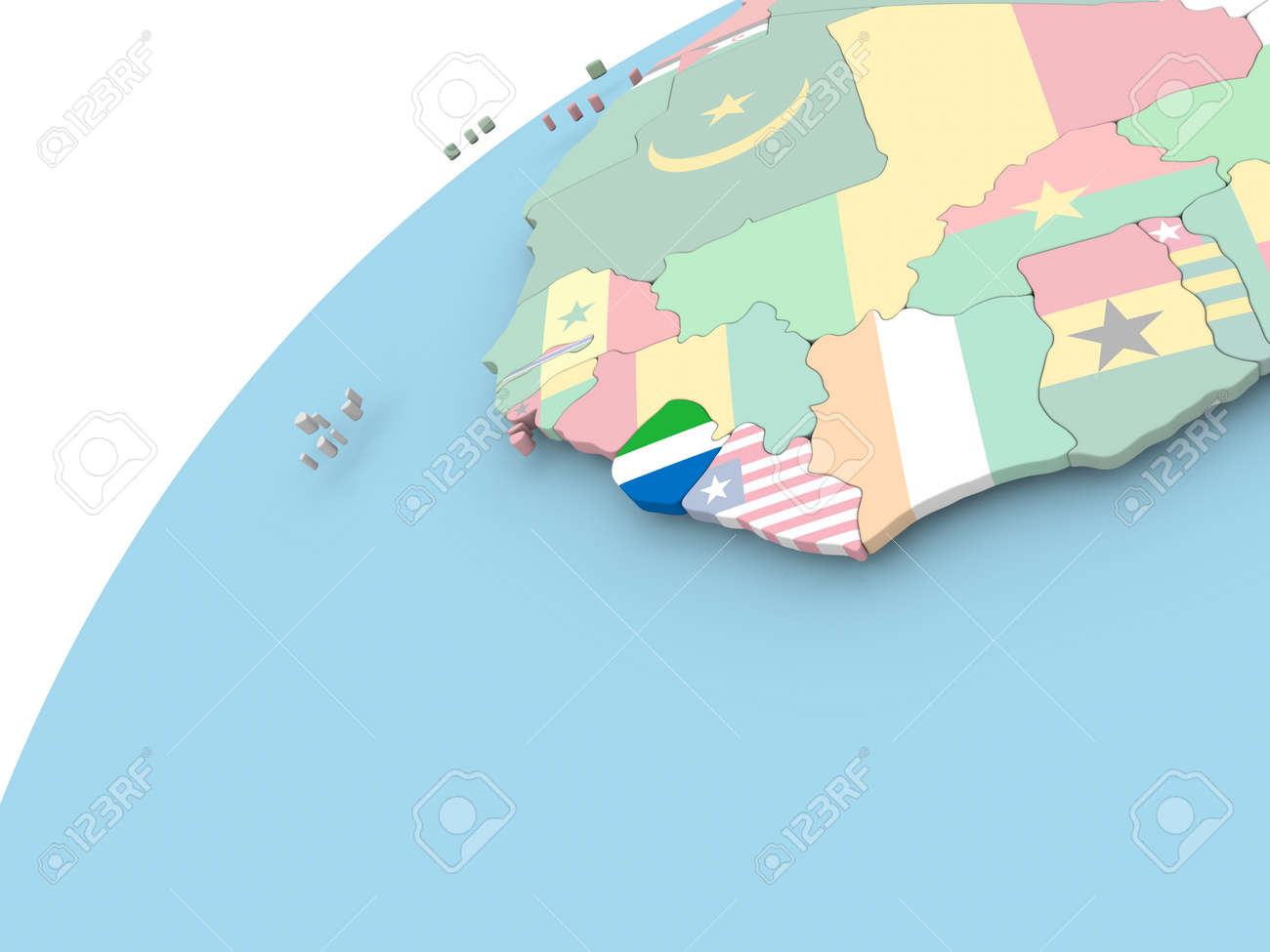 Map Of Sierra Leone On Political Globe With Embedded Flag. 3D ...