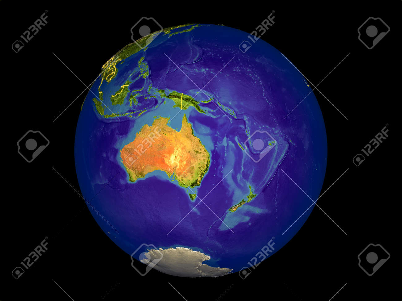 Map Of Australia From Space.Stock Illustration