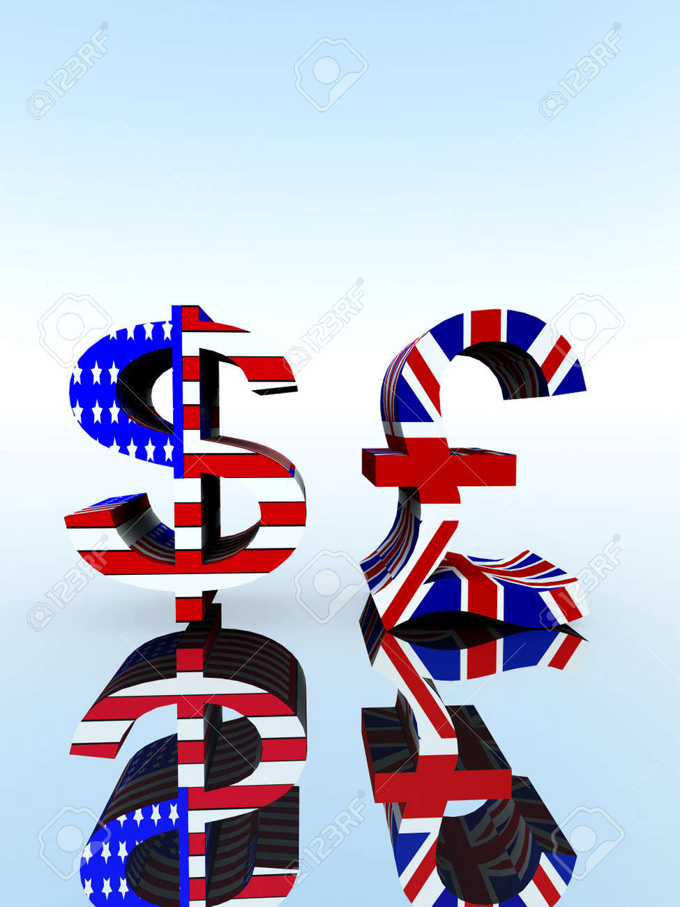 A Set Of Us And Uk Currency Symbols Stock Photo Picture And