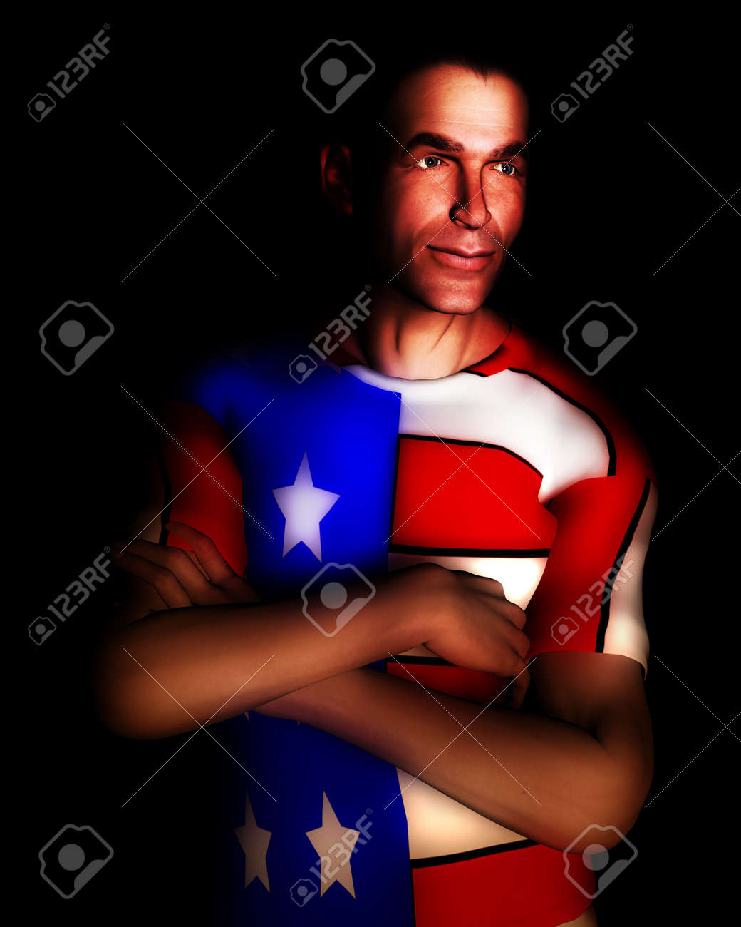 A man with the American flag on his clothing, a great image for every patriotic American. Stock Photo - 822204