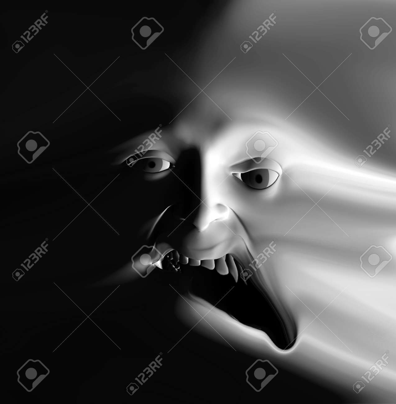 My vision of a abstract nightmare with a face that could be in great pain or could be some form of nasty ghost. Stock Photo - 1104882