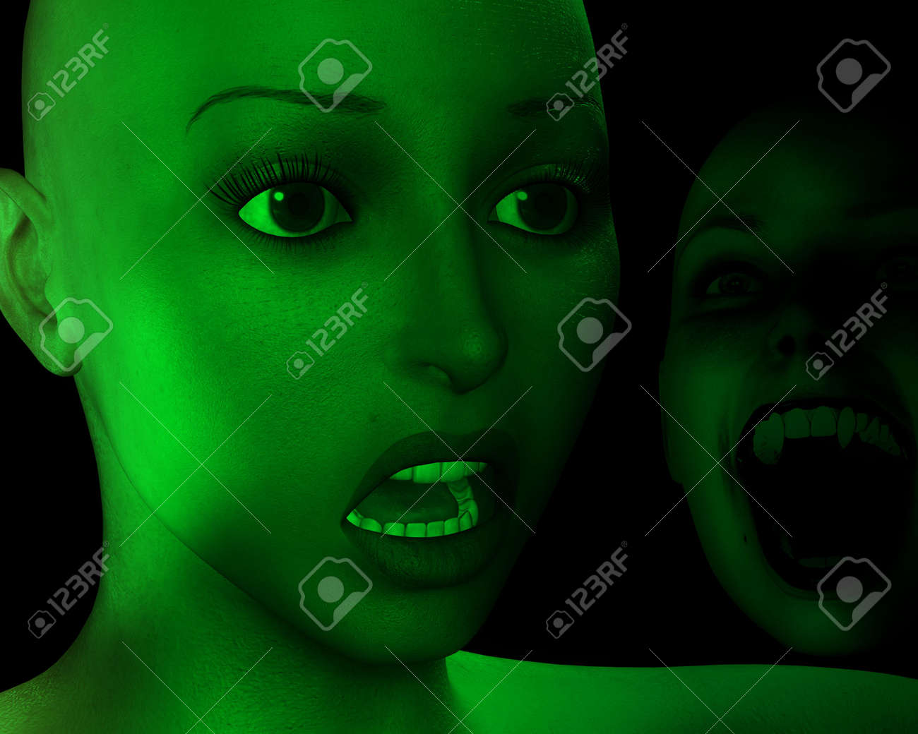 An image of a women in a state of fear as their is a monster behind her. Stock Photo - 1186325