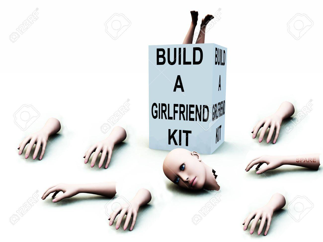 A abstract conceptual image of a kit to build a girlfriend. Stock Photo - 1193901