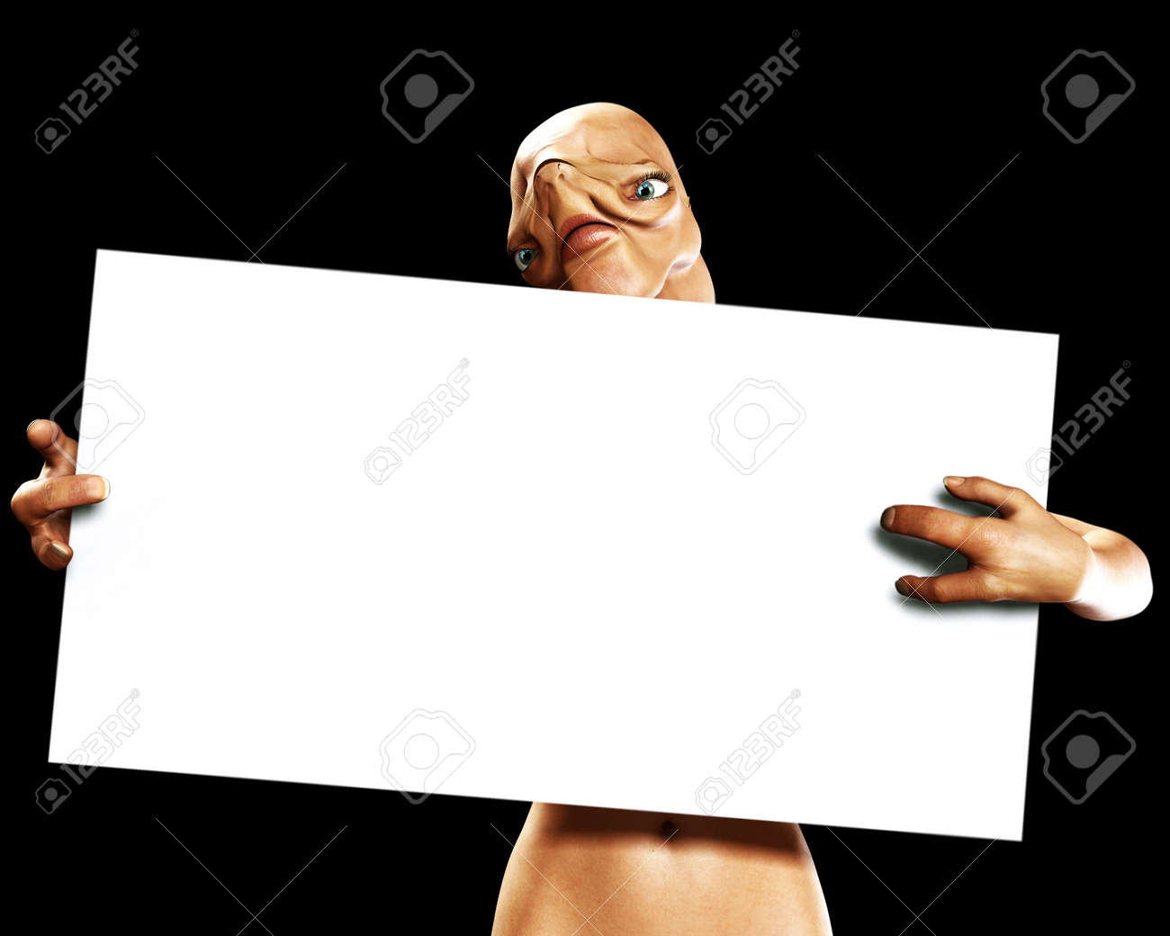 An image of an alien that is holding a blank sign. Stock Photo - 1207236