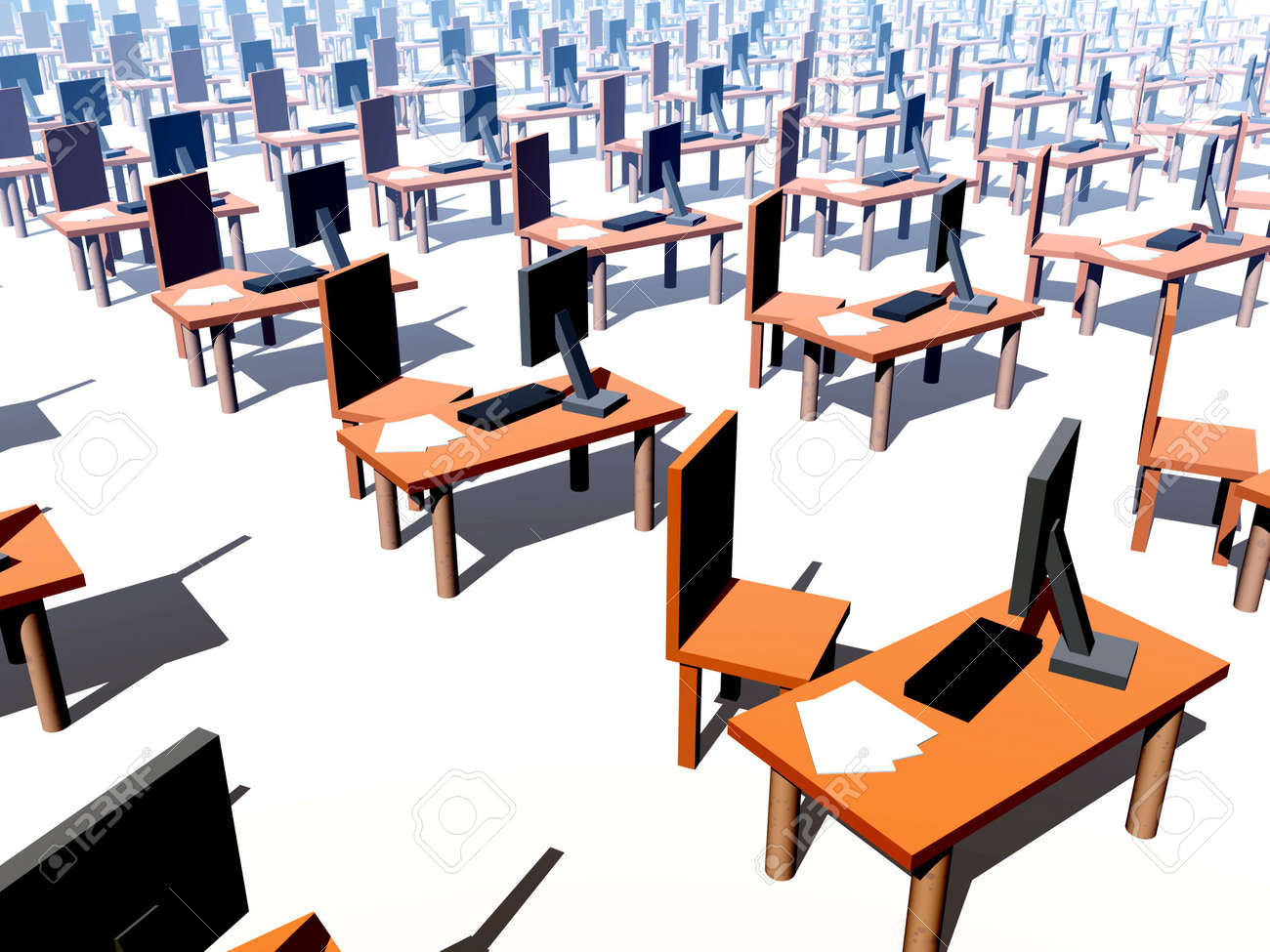 A conceptual image of a It office/work environment, it contains desks, chairs and computers with keyboards and paper Stock Photo - 2127598