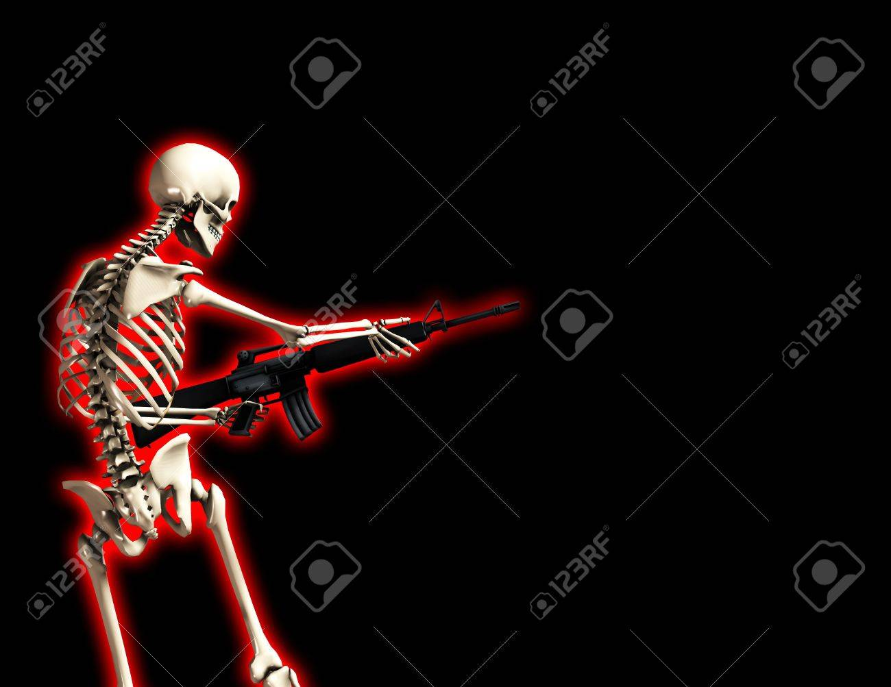 An conceptual image of a skeleton with a gun, it would be good to represent concepts of war. Stock Photo - 2441055