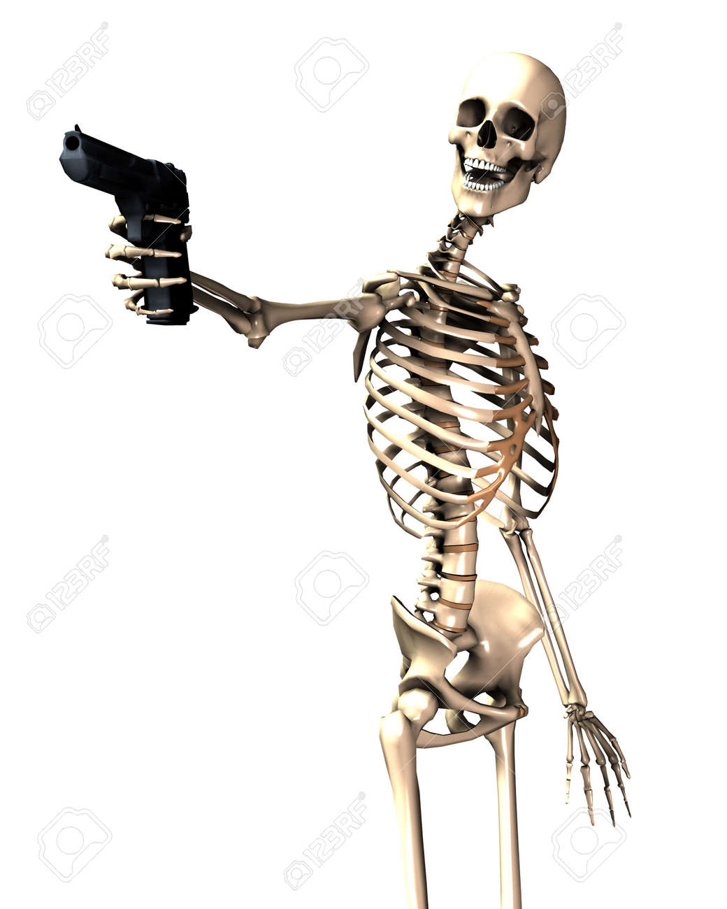 An Image Of A Skeleton With A Firearm, A Possible Interesting ...