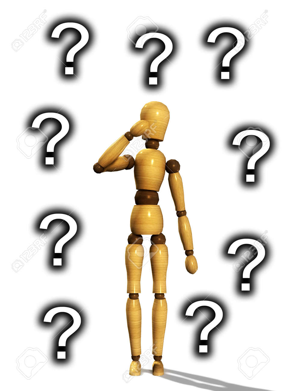 A confused wooden mannequin. Stock Photo - 3934563