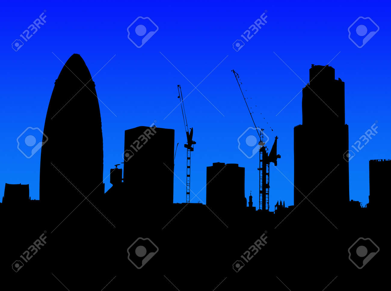 A Simple Silhouette Of The Skyline London Featuring Gherkin Stock Photo