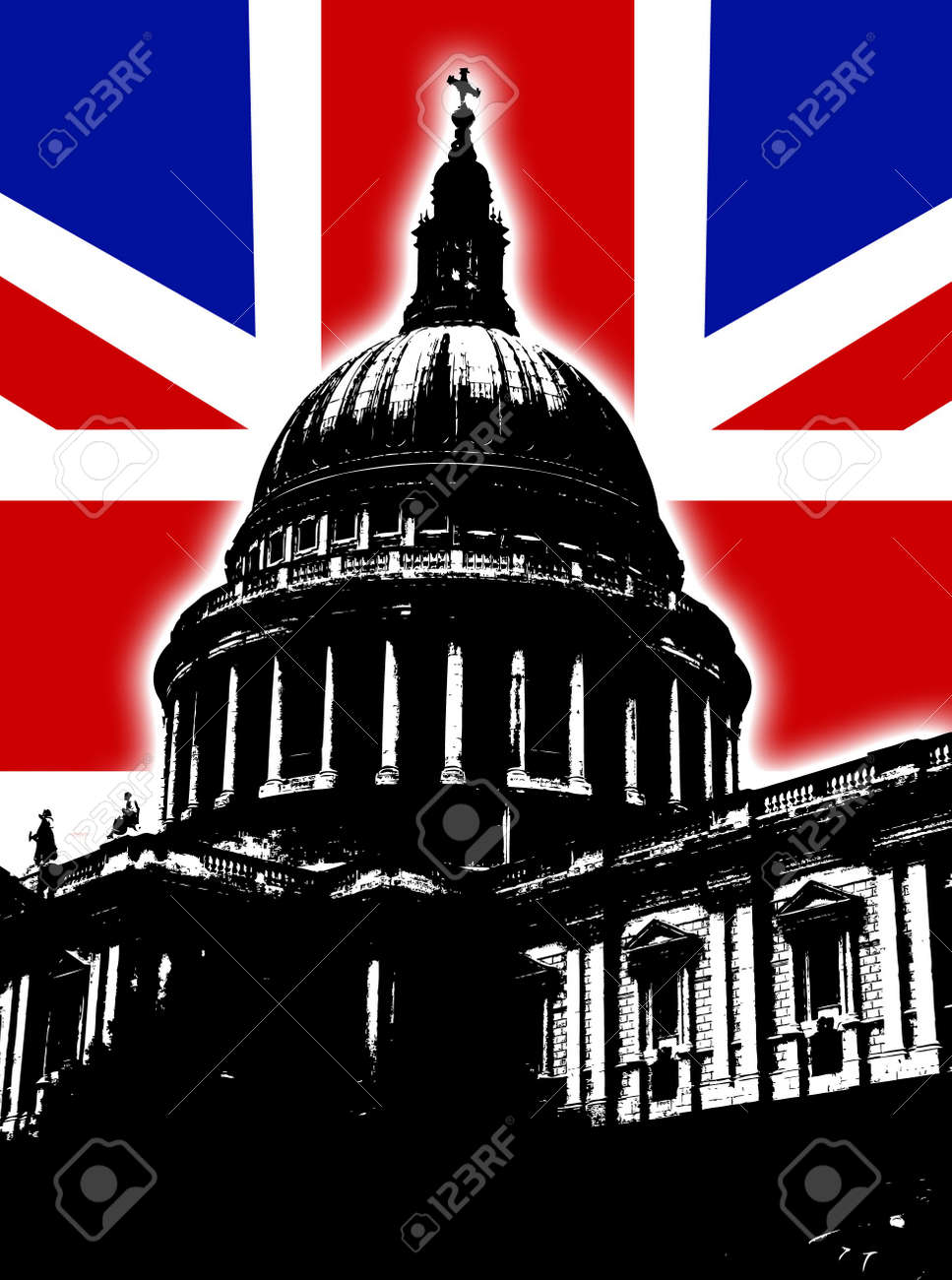 st paul u0027s cathedral in london with the uk flag stock photo