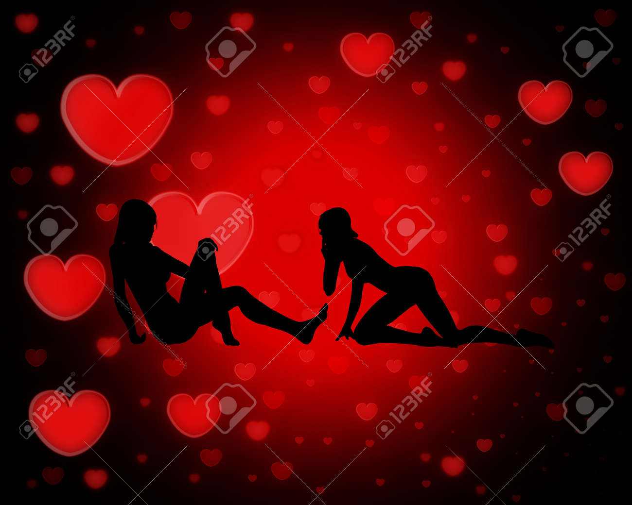 Two Women In Love Against Heart Backgrounds Stock Photo Picture