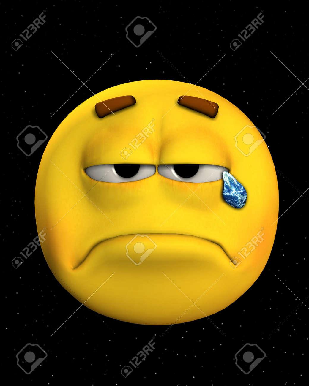 Konzept Abbild Ein Trauriges Gesicht Weinen Erde Tranen Im Raum