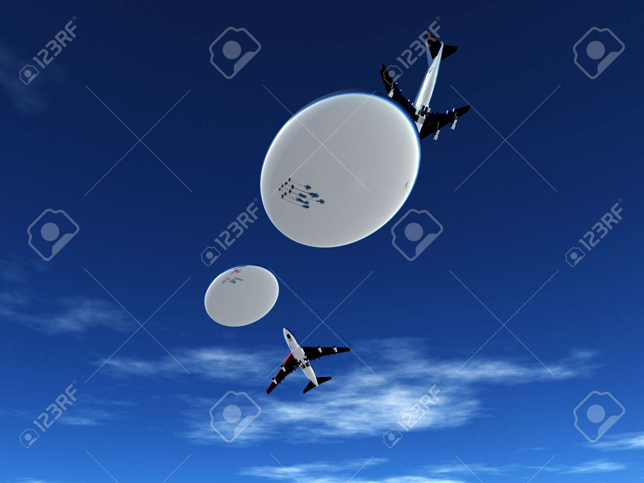 Some planes being pursed by a fleet of flying saucers. Stock Photo - 5726478